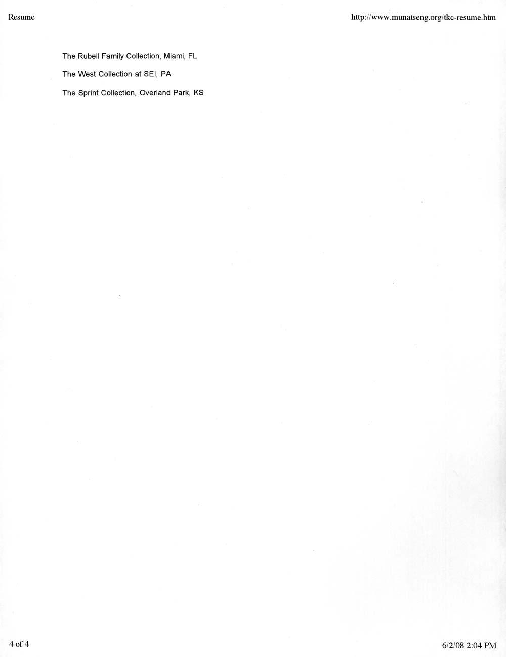 Tseng Kwong Chi's Resume, pg 4